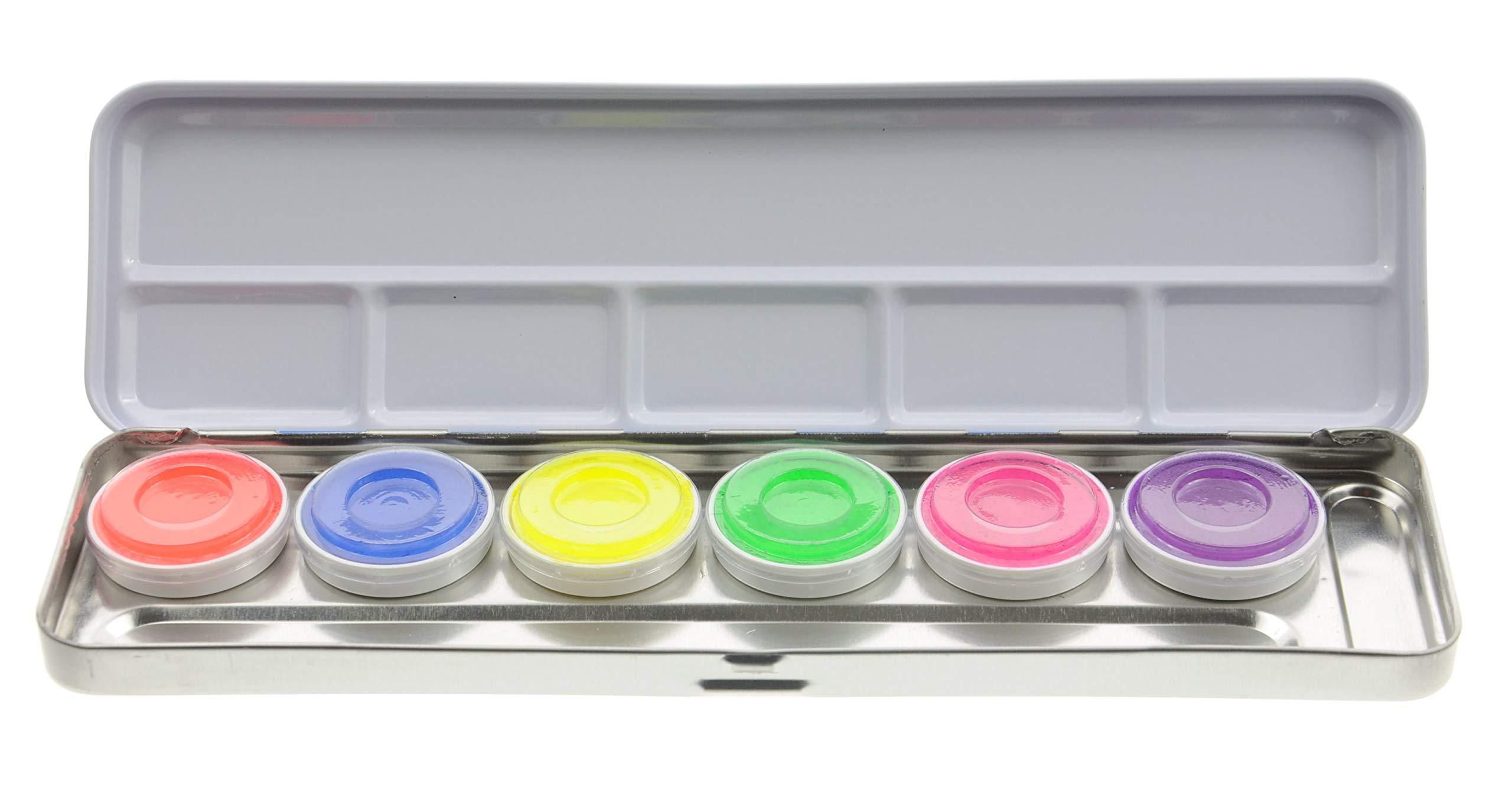 Kryolan AQUACOLOR DAY GLOW PALETTE 6 COLORS 5177 UV-Dayglow Makeup