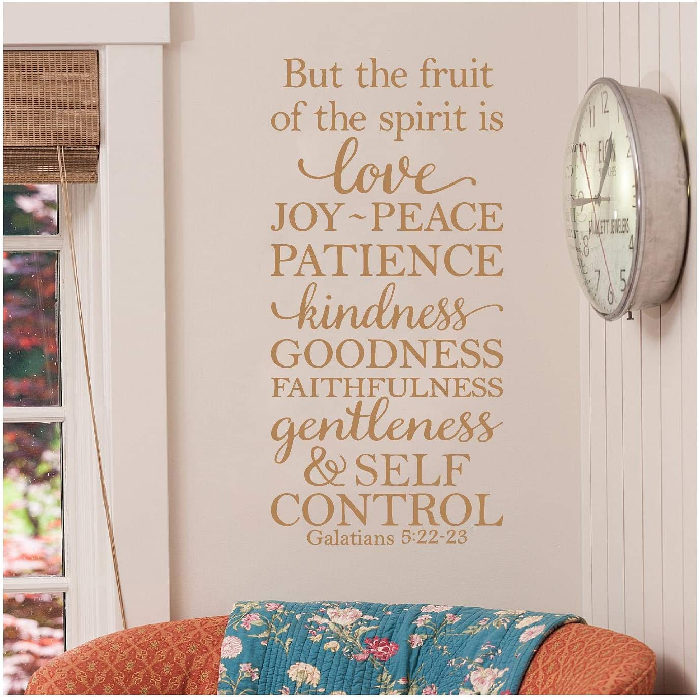 "But The Fruit of The Spirit is Love, Joy, Peace, Patience, Kindness, Goodness, Faithfulness.Galatians 5:22-23 Vinyl Lettering Wall Decal Sticker (26""H x 12.5""W, Metallic Gold)"