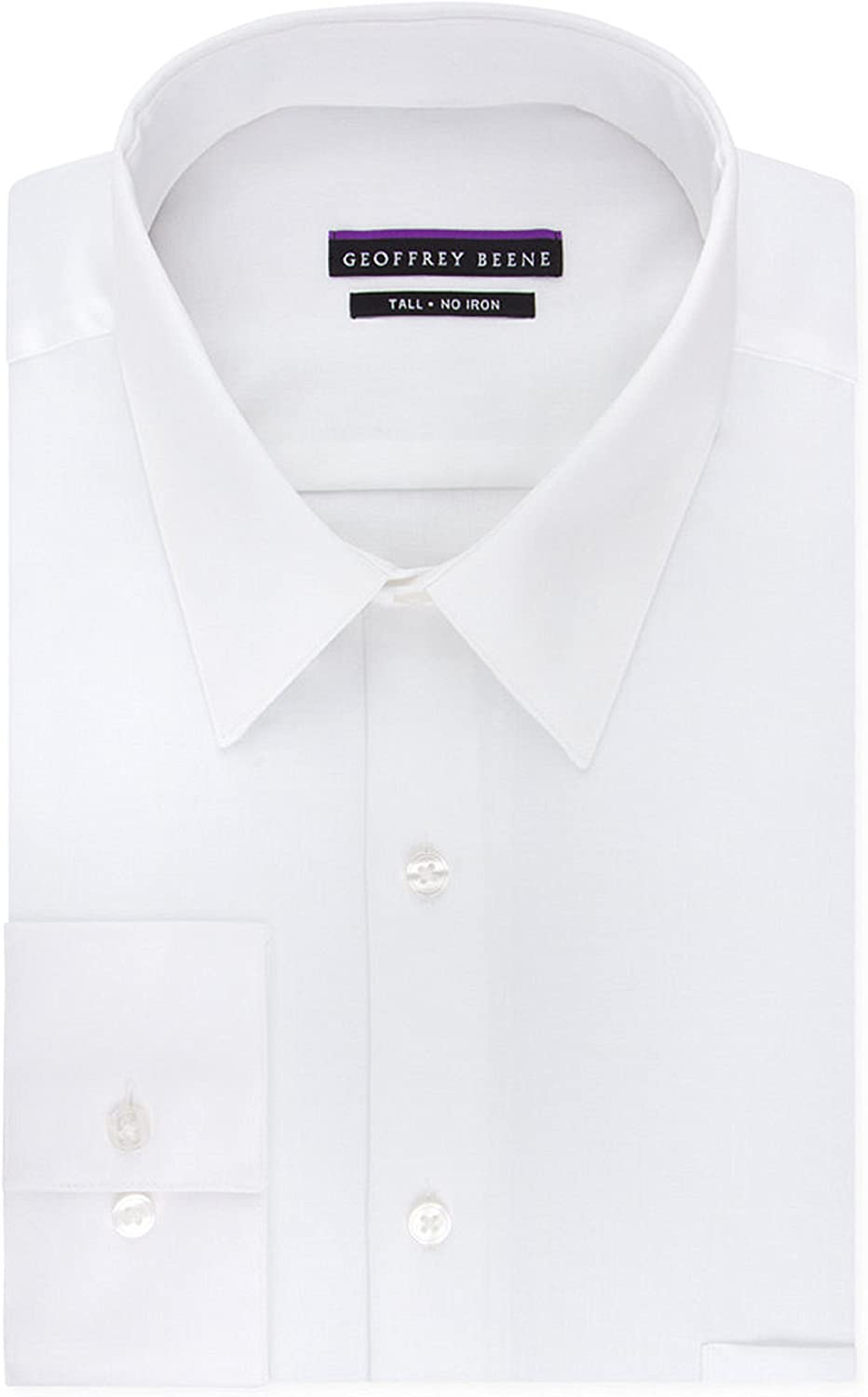 Geoffrey Beene Men's TALL FIT Dress Shirts Sateen Solid (Big and Tall): Clothing