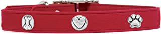 product image for Rockin Doggie Bone/Heart/Paw Leather Rivet Dog Collar, 1/2 by 10-Inch, Red
