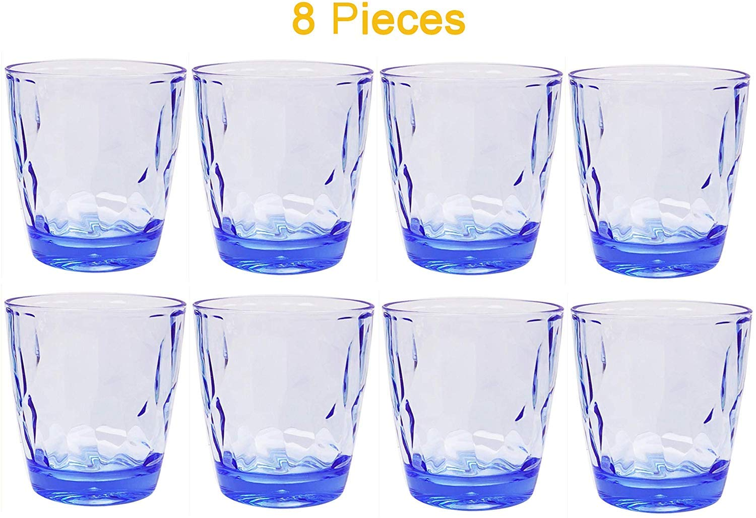 Pack of 8 Premium Acrylic Unbreakable Drinking Glasses Dishwasher Safe BPA Free Juice Glasses for Kids Nontoxic Tumblers 10.5 Ounce