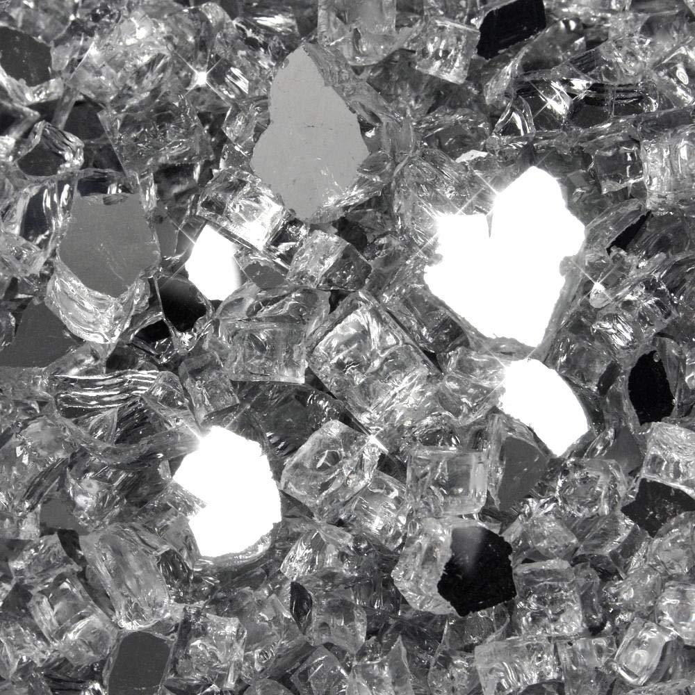 One Stop Outdoor (40 Pounds) 1/2'' Premium Silver Metallic Reflective Bulk Fire Glass, Tempered for Fire Pit & Fireplace (Silver) by One Stop Outdoor