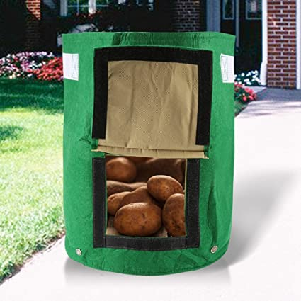 Grow Bags Potato Grow Planter Woven Fabric Bags Felt Cloth Planting Container Bag With Side Window For Outdoor Garden Home Planting Pe Bag