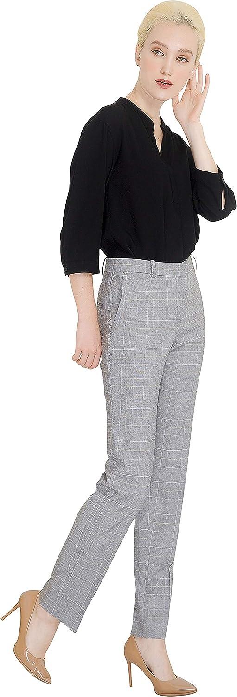 Marycrafts Womens Office Work Dress Slacks Pants Trousers Tall XL Gray Plaid B