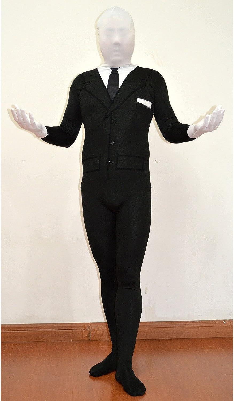 Slenderman Youth Costume Spandex Body Black Suit Tie Boys Kids Slender Man Meme