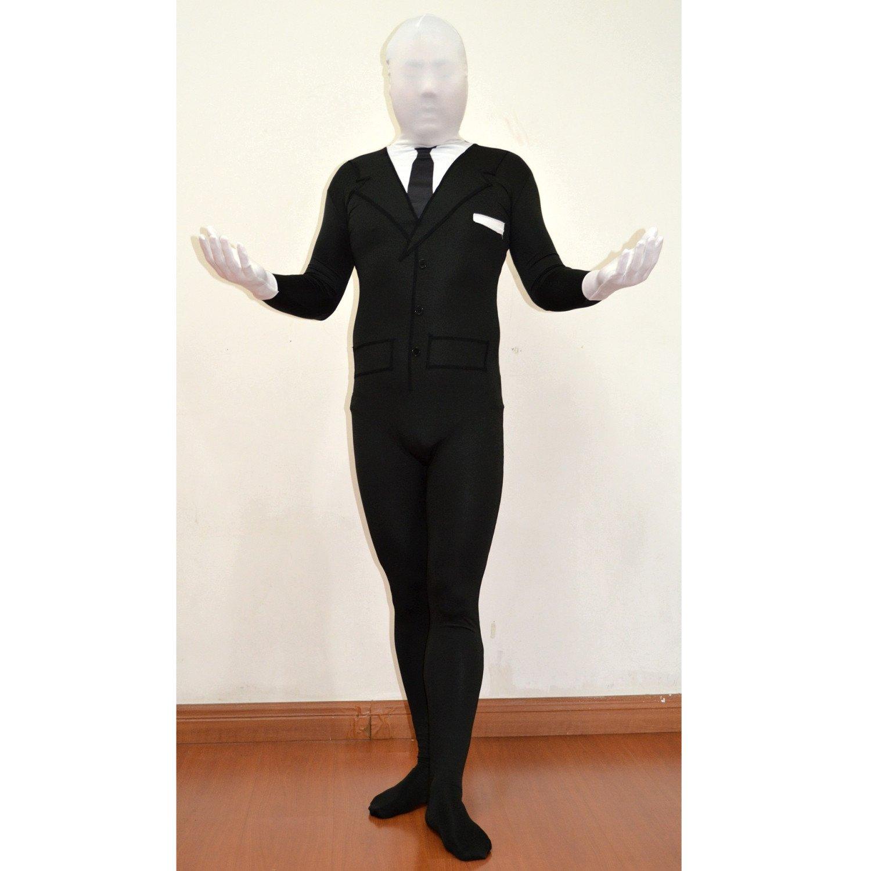 Amazon.com: Slenderman adulto Spandex Costume Body Suit Tie ...