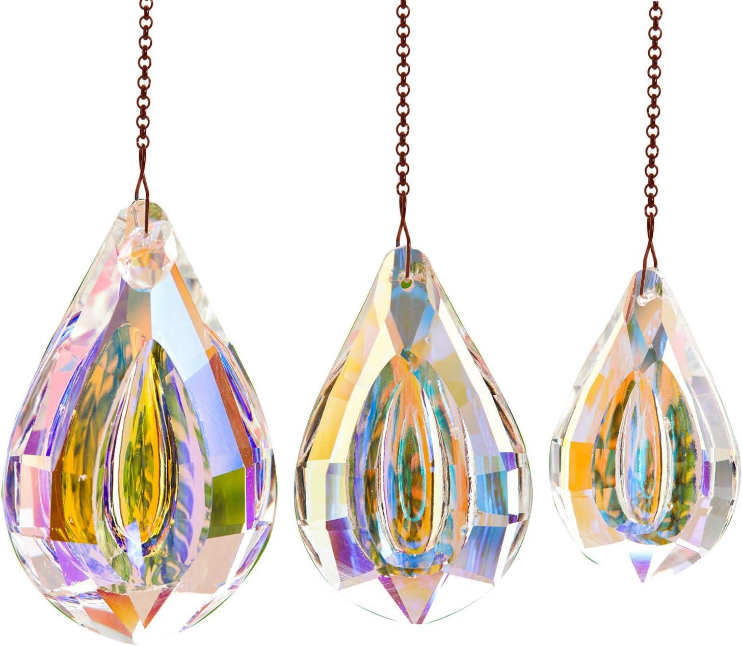 Together-life 3pcs Crystal Suncatcher Prism Pendant Rainbow Maker Hanging Suncatchers with Chain Window Sun Catcher for Christmas Wedding(AB Color)