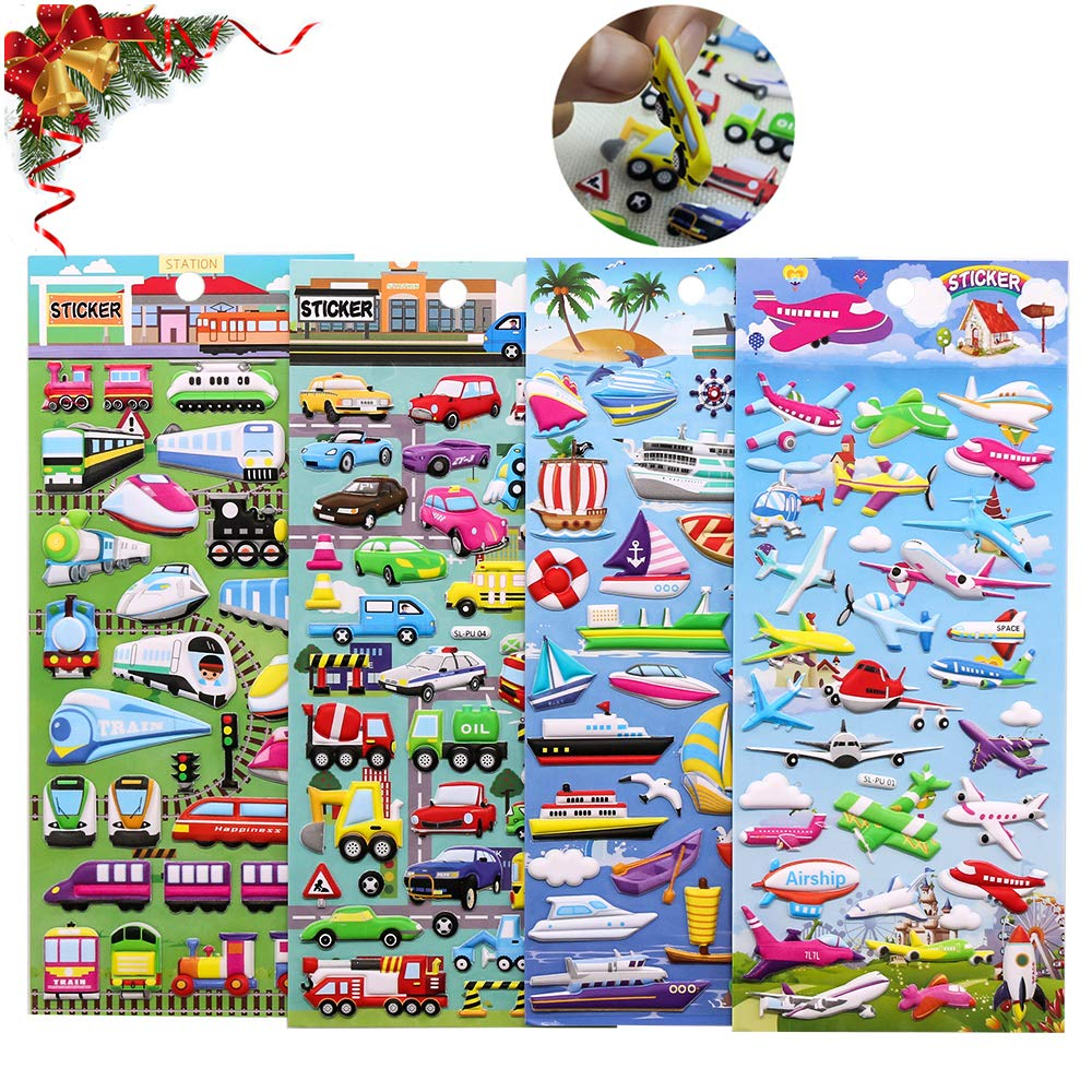 PVC Foam Cars Stickers 3D Puffy Stickers,ForTomorrow Kids Cars Trucks Planes Stickers Party Supplies Pack,PVC Transportation Stickers//Bulk Stickers for Boy//Girl Birthday Gift,Teachers