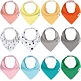 Baby Bandana Drool Bibs for Girls,12 Pack Absorbent Cotton Organic Infant Bib,Toddler Baby Bbis for Teething and Drooling