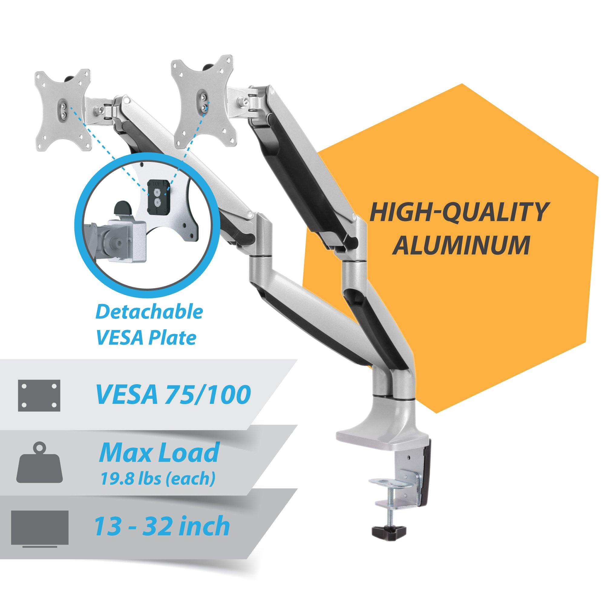 Monitor Mount Arm, AVLT-Power Premium Aluminum Dual Monitor Desk Mount Arm Stand - Gas Spring - Heavy Duty Holds 13'' to 32'' Screens, Up to 19.8 lbs Each, VESA 75x75 or 100x100