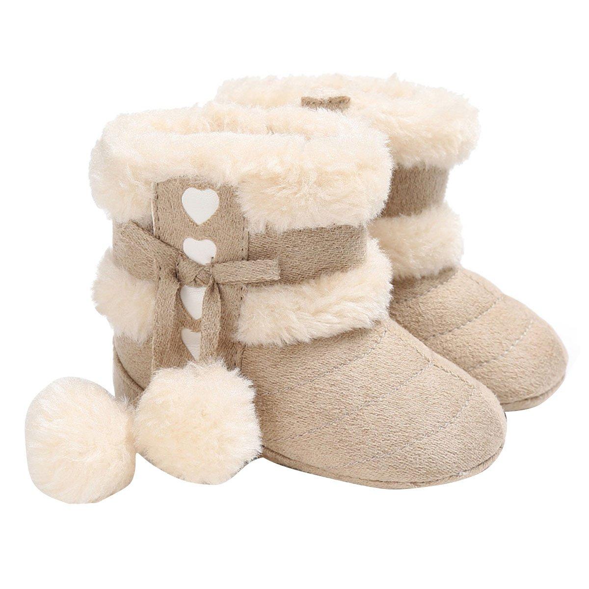 Butterme Bottes bébé, bébé d'hiver Doux et Chaud Semelle antidérapante mi-Mollet Chaussures de crèche avec Fourrure PARÉ Pom Pom bébé Prewalker Enfant en Bas âge Bottes de Neige pour 0-18