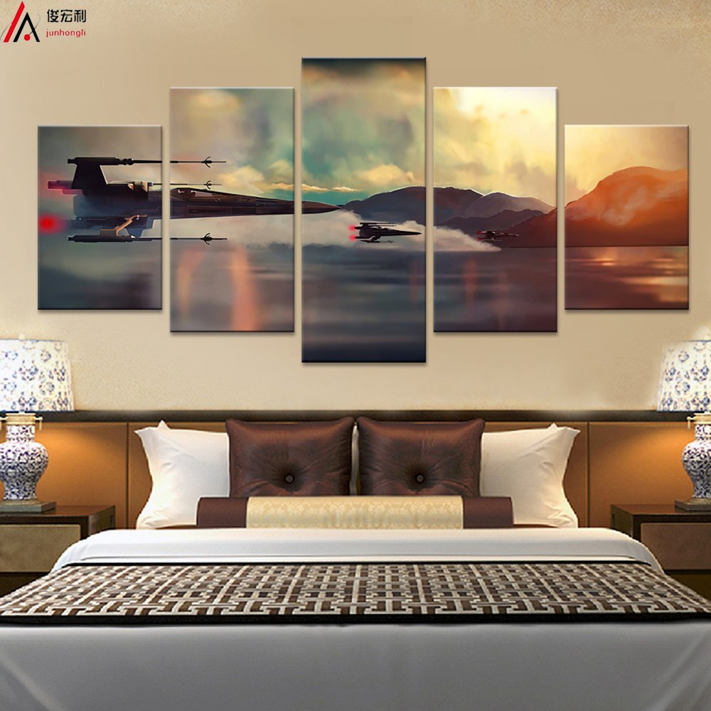 Modern Art Printed in Star Wars Movie Poster 5 panel canvas art wall frame paintings living room30x40x2+30x60x2+30x80x1= (CM)^^^With Framework