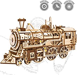 ROKR 3D Wooden Puzzle Brainteaser Gifts for Teens and Adults Locomotive Mechanical Construction Kit