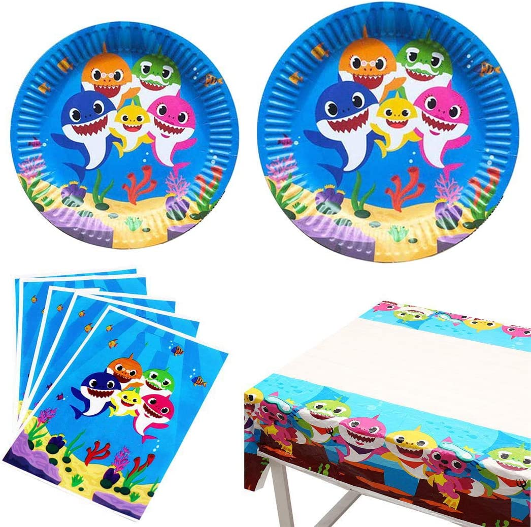 MGLDSJT Shark Birthday Party Supplies and Decorations 9 + 7 Inch Birthday Paper Plates,Gift Bag,Tablecloth,Shark Theme Birthday Party Supplies for Kids