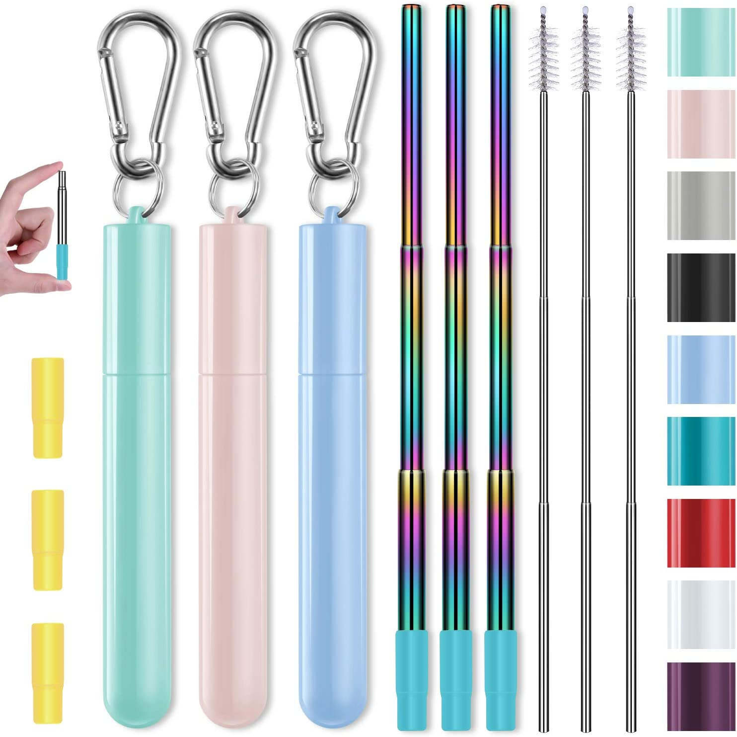Metal Straws, Funbiz 3 Pack Reusable Collapsible Stainless Steel Straw with Plastic Case Silicone Tip and Long Cleaning Brush, Telescopic Portable Pocket Drinking Straws for Travel, Green/Pink/Purple