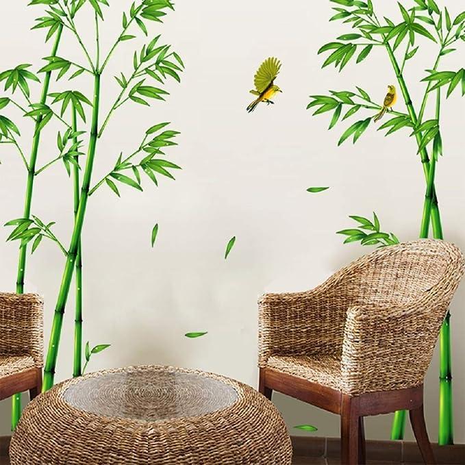 Sworna Nature Series Sn 78 Elegant Green Bamboo Vinyl Removable Diy Wall Art Mural Sticker Decor Decal Lady Bedroom Office Sitting Living Room Hallway Kitchen Glass Door Window Nursery 65 H X 116 W Home Kitche Amazon Com