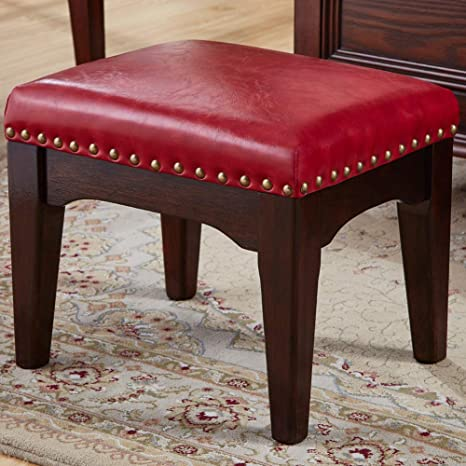 Amazon Com Zhengdaikang Foot Stool Small Faux Leather Ottoman Wooden Square Upholstered Foot Rest In Red 15 3 8 X 12 1 4 X 12 1 2 H Kitchen Dining