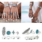 9pcs/Set Women Bohemian Vintage Silver Stack Rings Above Knuckle Blue Rings Set