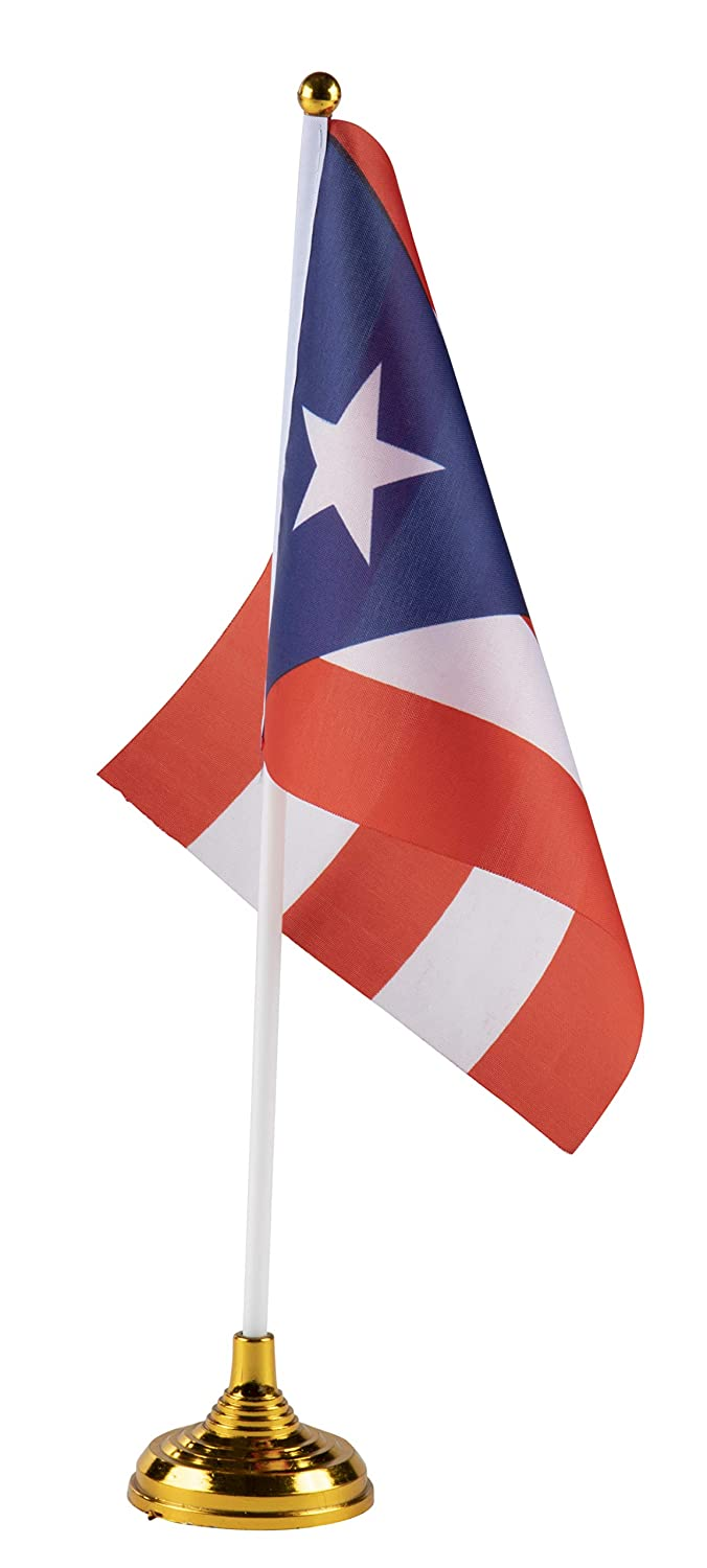 Amazon com juvale puerto rico desk flags 24 piece desktop flags with stick and gold stand puerto rican flag table decoration 8 5 x 5 5 inches garden
