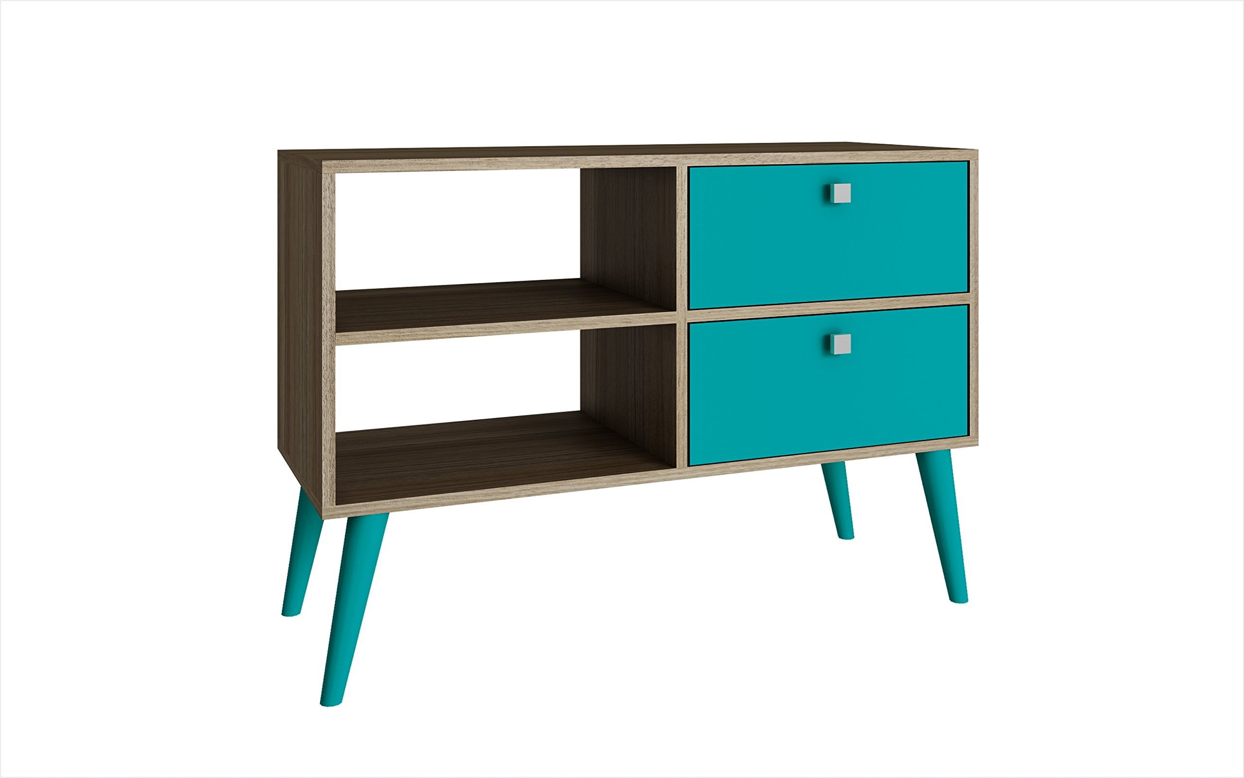 """Manhattan Comfort Dalarna Series Long Tabletop TV Stand Console with Open Shelf Design and 2 Drawers, Oak and Aqua - PRACTICAL SIZE: The TV Stand Measures 24.8""""H x 35.43""""L x 13.78""""D and Weighs Approx 39 Lbs, The TV Stand Arrives with Assembly Required and  Features a Fluorescent and Vibrant Color Finish UNIQUE OPEN SHELF: The TV Stand Features 2 Unique Open Shelves for Storing Media, Cable Box's, Playstation, Xbox Slim, Blu-ray Players and More on the Left Side. The Right Side Features 2 Drawers That Are Finished With a Uniquely Shaped Square Knob UNIQUE SPLAYED ROUNDED LEGS: The TV Stand Features a Unique Set of Rounded Legs Making It Sturdy and Adding a Unique Splayed Leg Design to The Modern Décor, The Splayed Legs Are Well Made and Sturdy - tv-stands, living-room-furniture, living-room - 71iIy01bBhL -"""