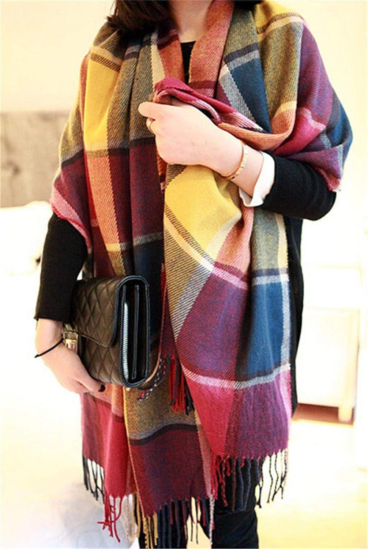Kfnire Sciarpe da donna grande sciarpa calda invernale calda invernale del grid della sciarpa del plaid del plaid delle donne per linverno di autunno