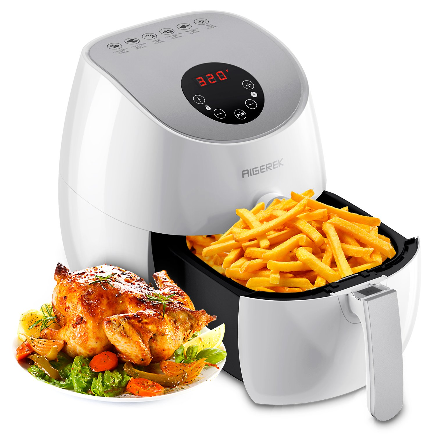 Aigerek Air Fryer - 3.2L, 1350W - Comes with Recipes CookBook - Easy-to-clean - Dishwasher Safe - Auto Shut off & Timer - Touch Screen Control