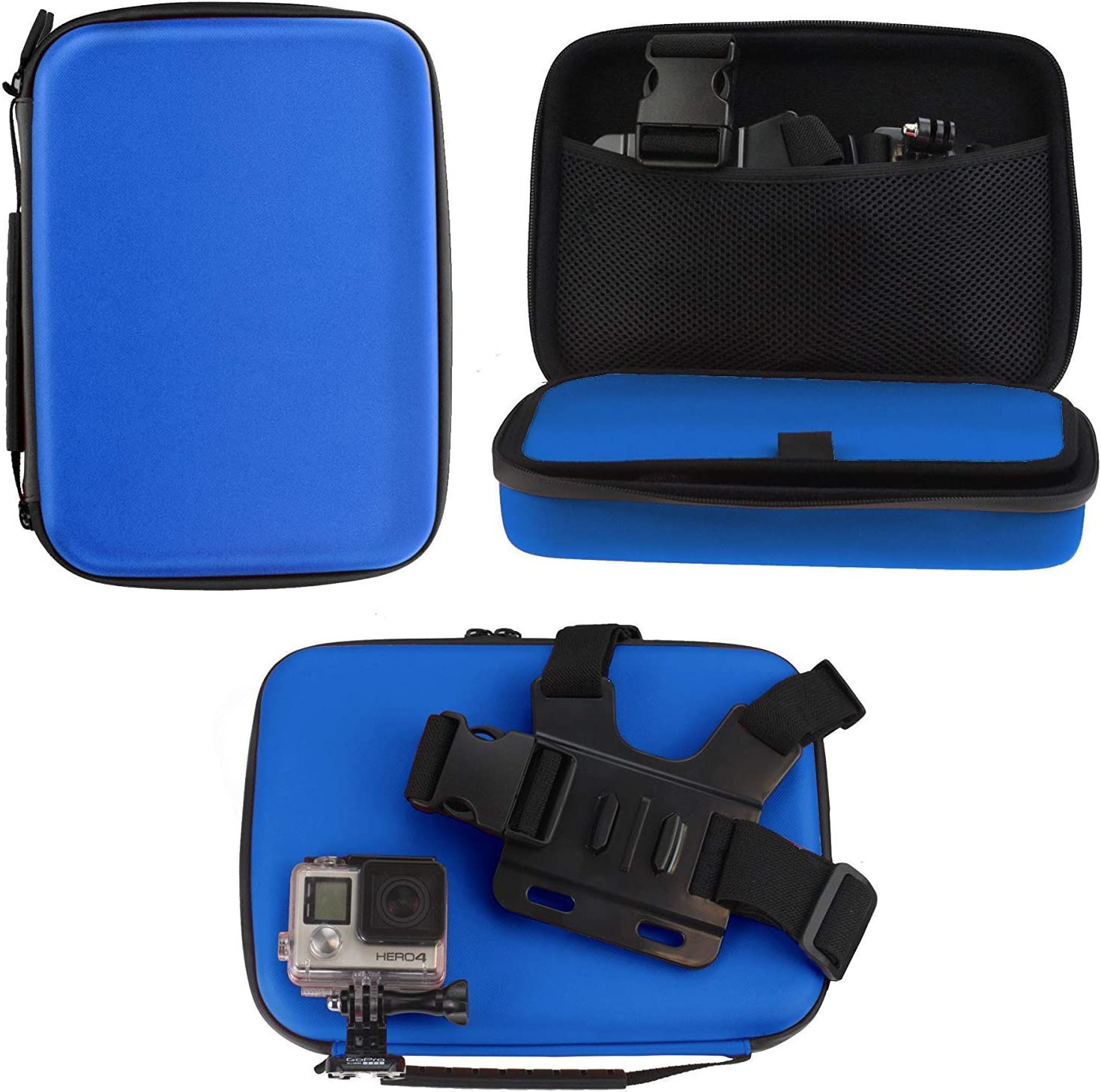 Navitech 9 in 1 Action Camera Accessory Combo Kit and Rugged Blue Storage Case Compatible with The YI 4K Action Camera