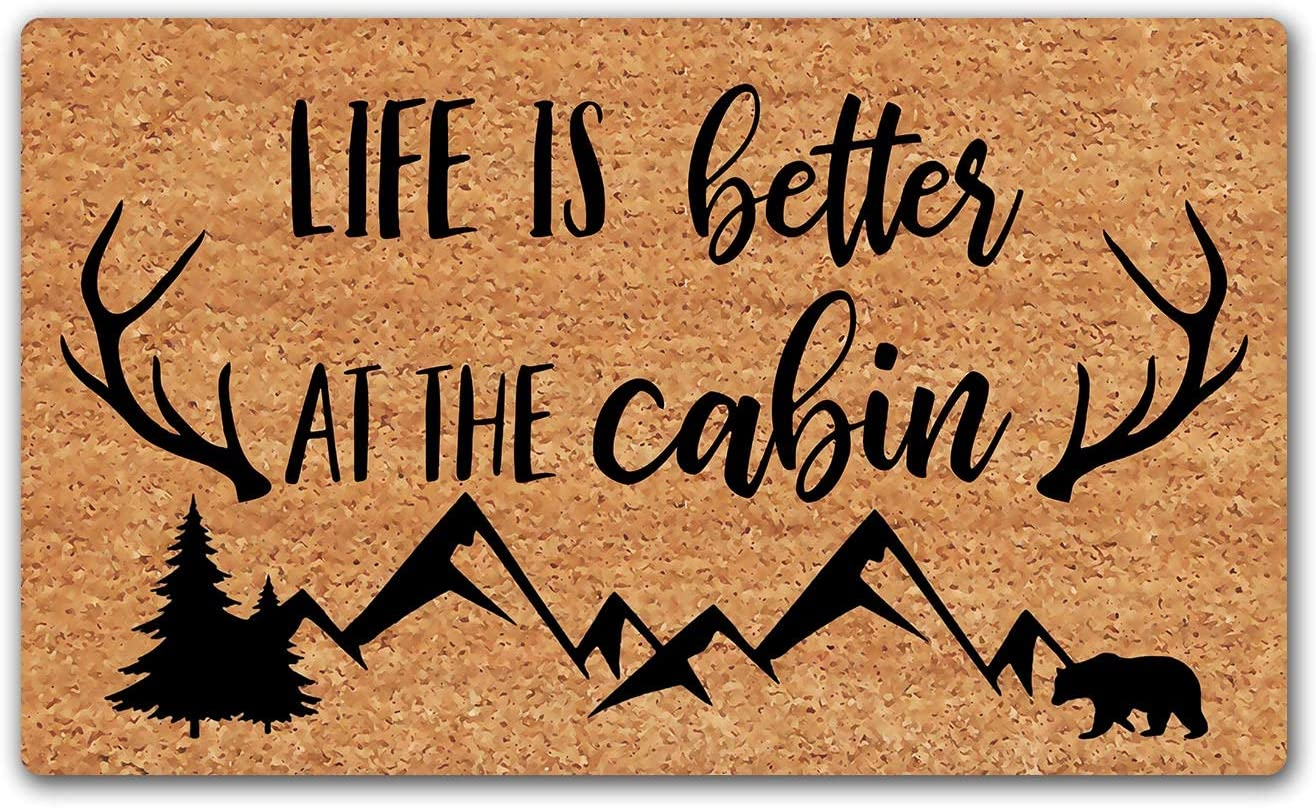 LuckyChu Doormat Life is Better at The Cabin Funny Floor Mat Rug Non-Slip Entrance Indoor Outdoor Bathroom Kitchen Home Mats Rubber 30 by 18 inch