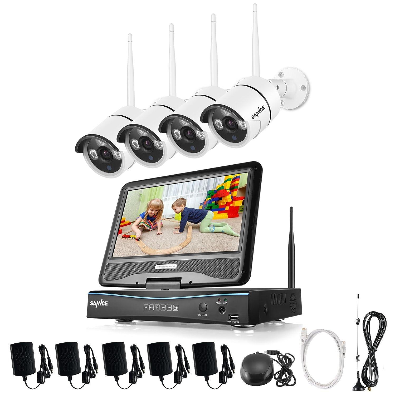 SANNCE kit de vigilancia inalámcrica con monitor sistema de seguridad (Onvif H.264 CCTV 4CH 1080P NVR wifi con pantalla y 4 cámaras 1.0MP)-sin HDD