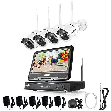SANNCE kit de vigilancia inalámcrica con monitor sistema de seguridad (Onvif H.264 CCTV