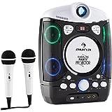 Auna Kara Projectura • Chaîne karaoké 2-en-1 • Projecteur • 2 micro • Lecteur CD+G • Port USB • MP3 compatible • Fonction A.V.C. • Beamer integré • LED • Noir