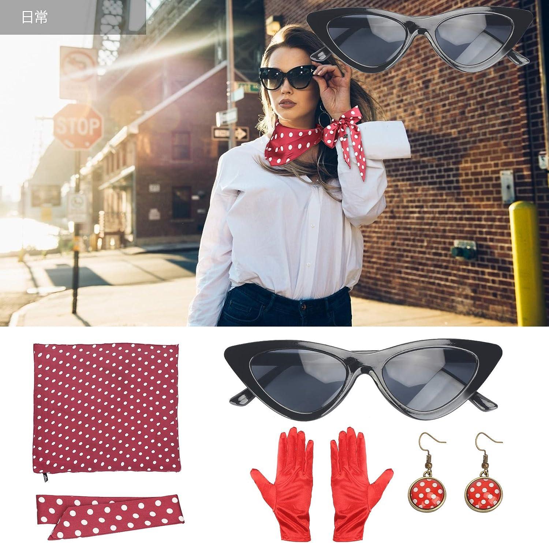 LOPOTIN Ann/ées 50 Costume Accessoires Ann/ées 50 Femmes Costume 5 Pcs Ensemble /à Pois /Écharpe Gant Boucle doreille Bandeau Lunette pour Soir/ée de D/éguisement F/ête Party Carnaval Rouge