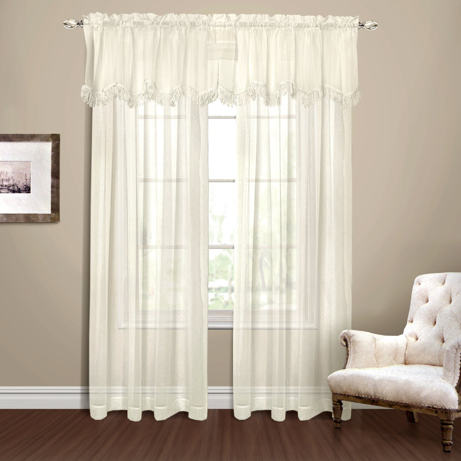 Ivory American Curtain /& Home 021371031141 American Curtain and Home Georgette Window Curtain 56-Inch by 84-Inch