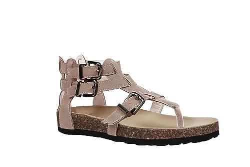 5b10f1c185561 Hestenve Womens Flat Ankle Buckle Criss Cross Gladiator Thong Herringbone  Sandals Beige
