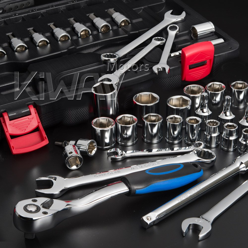 KiWAV tool box kit mixed 3/8'' drive socket & wrench maintenance repair 40pcs for Harley-Davidson motorcycle