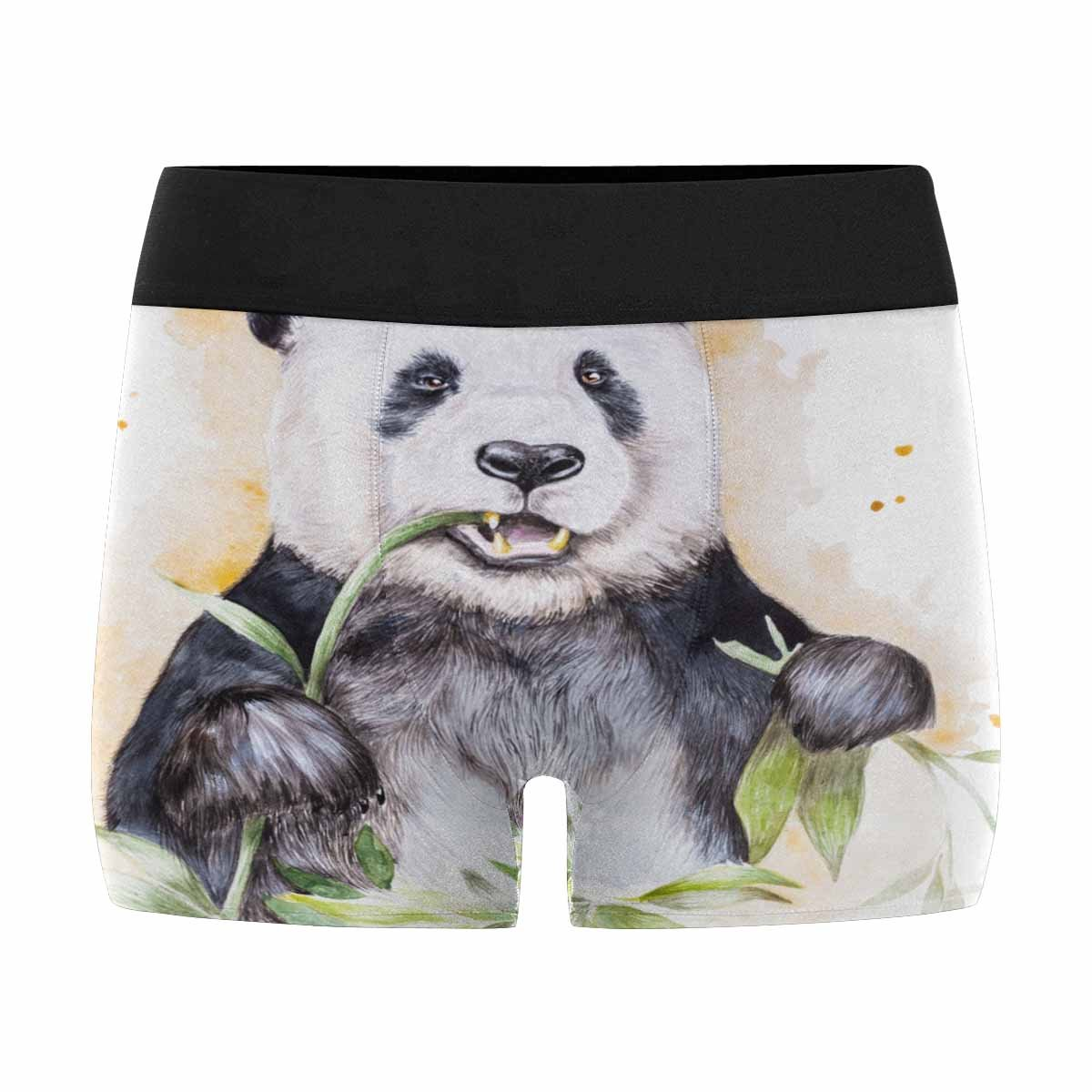 INTERESTPRINT Custom Mens Boxer Briefs Water Color Painting of A Giant Panda Eating Bamboo Leaves XS-3XL