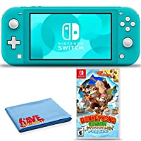Nintendo Switch Lite (Turquoise) Bundle with 6Ave Cleaning Cloth + Donkey Kong Country: Tropical Freeze