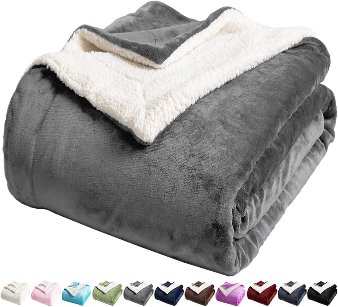 LBRO2M Sherpa Fleece Bed Blanket King Size Super Soft Fuzzy Plush Warm Cozy Fluffy Microfiber Couch Throw Velvet Double Reversible Luxurious Blankets (Grey, King(90x104 Inches))