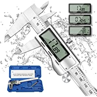 Digital Caliper Micrometer, REEXBON 6 Inch Caliper Measuring Tool, Inch/mm/Fractions Conversion, Stainless Steel Precise…