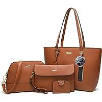 bfd3872b1b30 ELIMPAUL Women Fashion Handbags Tote Bag Shoulder Bag Top Handle Satchel  Purse Set 4pcs
