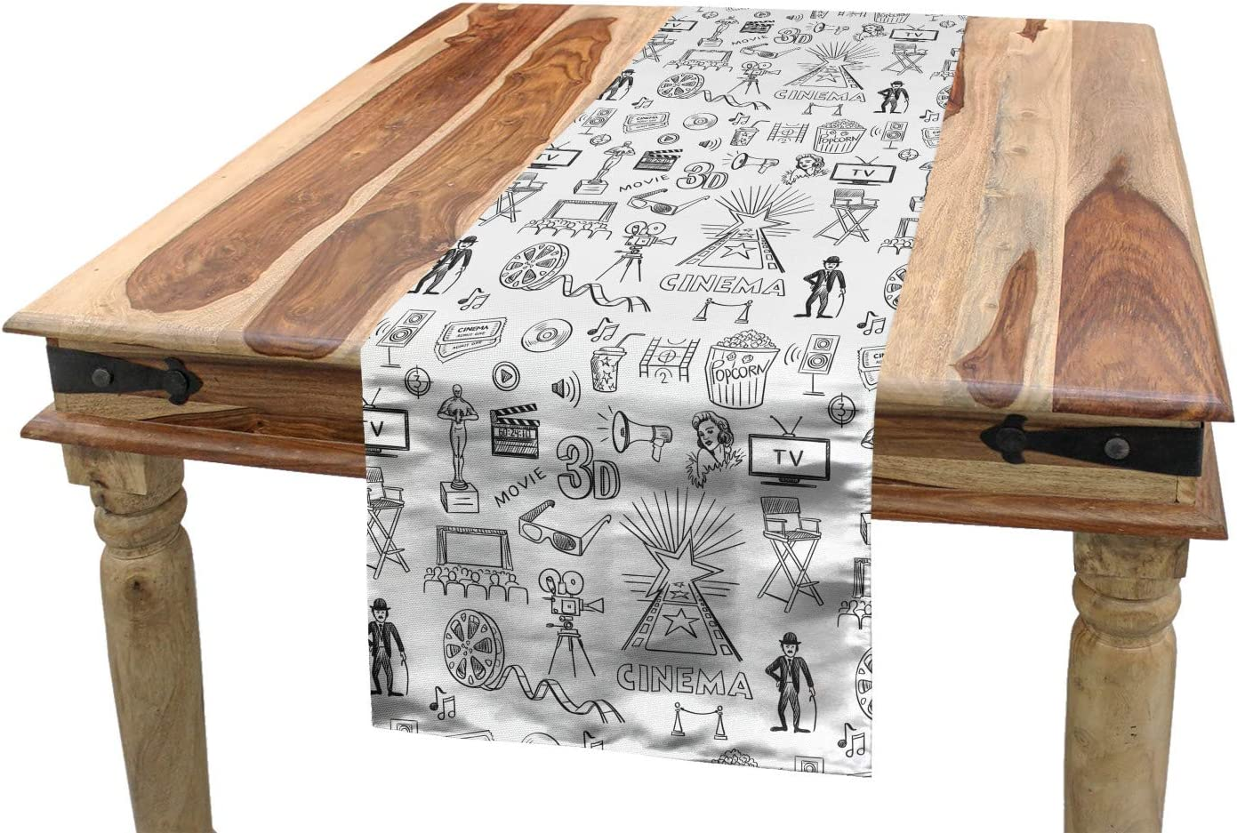 Amazon Com Ambesonne Movie Theater Table Runner Hand Drawn Style Cinema Pattern With Various Different Dining Room Kitchen Rectangular Runner 16 X 120 White And Charcoal Grey Home Kitchen