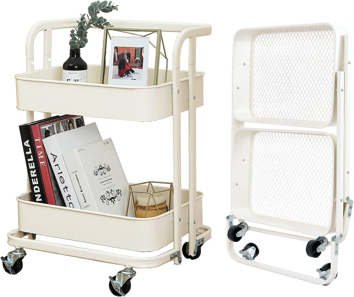 2-Tier Foldable Utility Rolling Cart Multifunction Storage Shelves with Handle and Wheels for Office Kitchen Bathroom Organization,Cream White