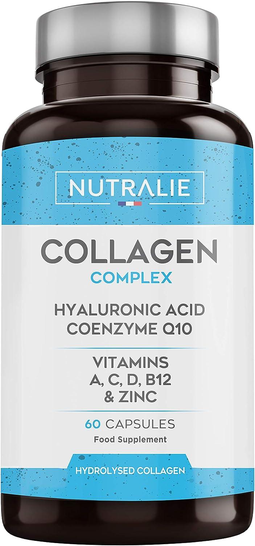 Colágeno + Ácido Hialurónico + Coenzima Q10 + Vitaminas A, C, D y B12 + Zinc | Energía y Articulaciones Fuertes | Colágeno Hidrolizado en 60 cápsulas | Nutralie