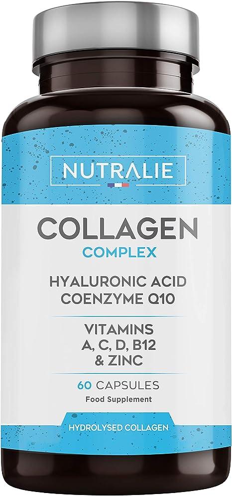 nutralie integratore di collagene + acido ialuronico | arricchito con vitamina c, zinco e coenzima q10 nutcol60