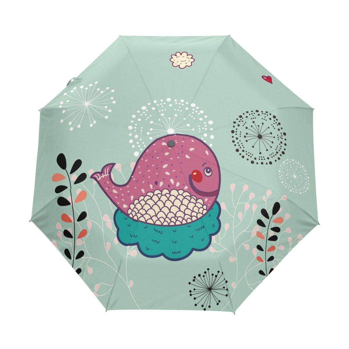 Senya Saobao防風と防雨トラベル傘と自動開いて閉じFoldingパープルWhaleポータブル折りたたみ式太陽雨傘 B07FDXNZ43