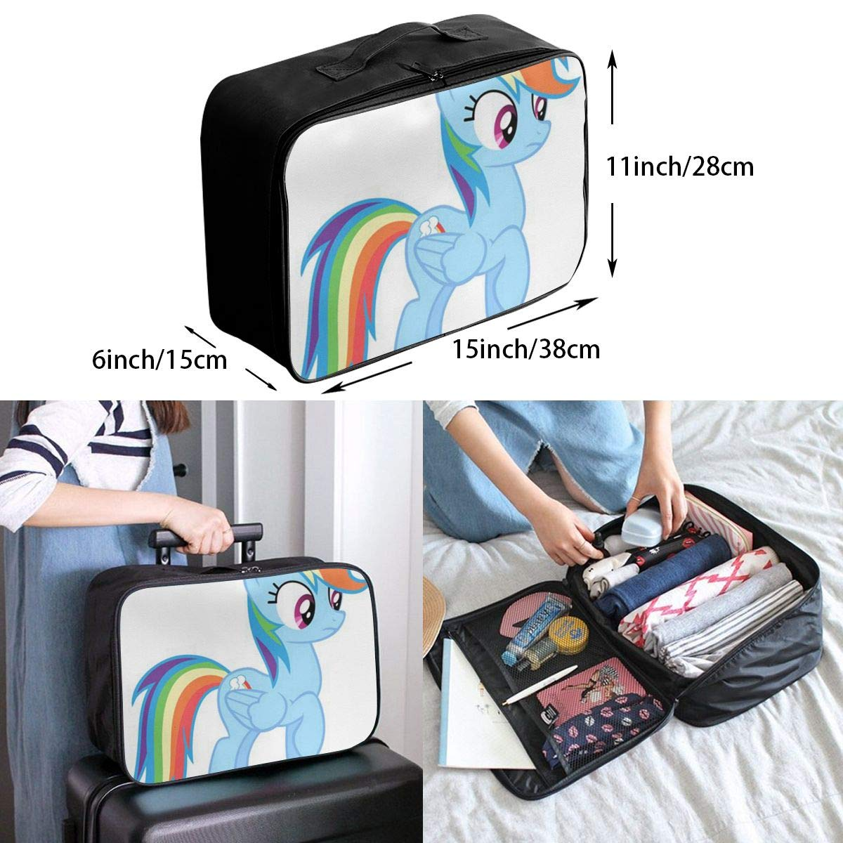 Lightweight Large Capacity Portable Luggage Bag Cute Cartoon Unicorns On Rainbows Travel Waterproof Foldable Storage Carry Tote Bag