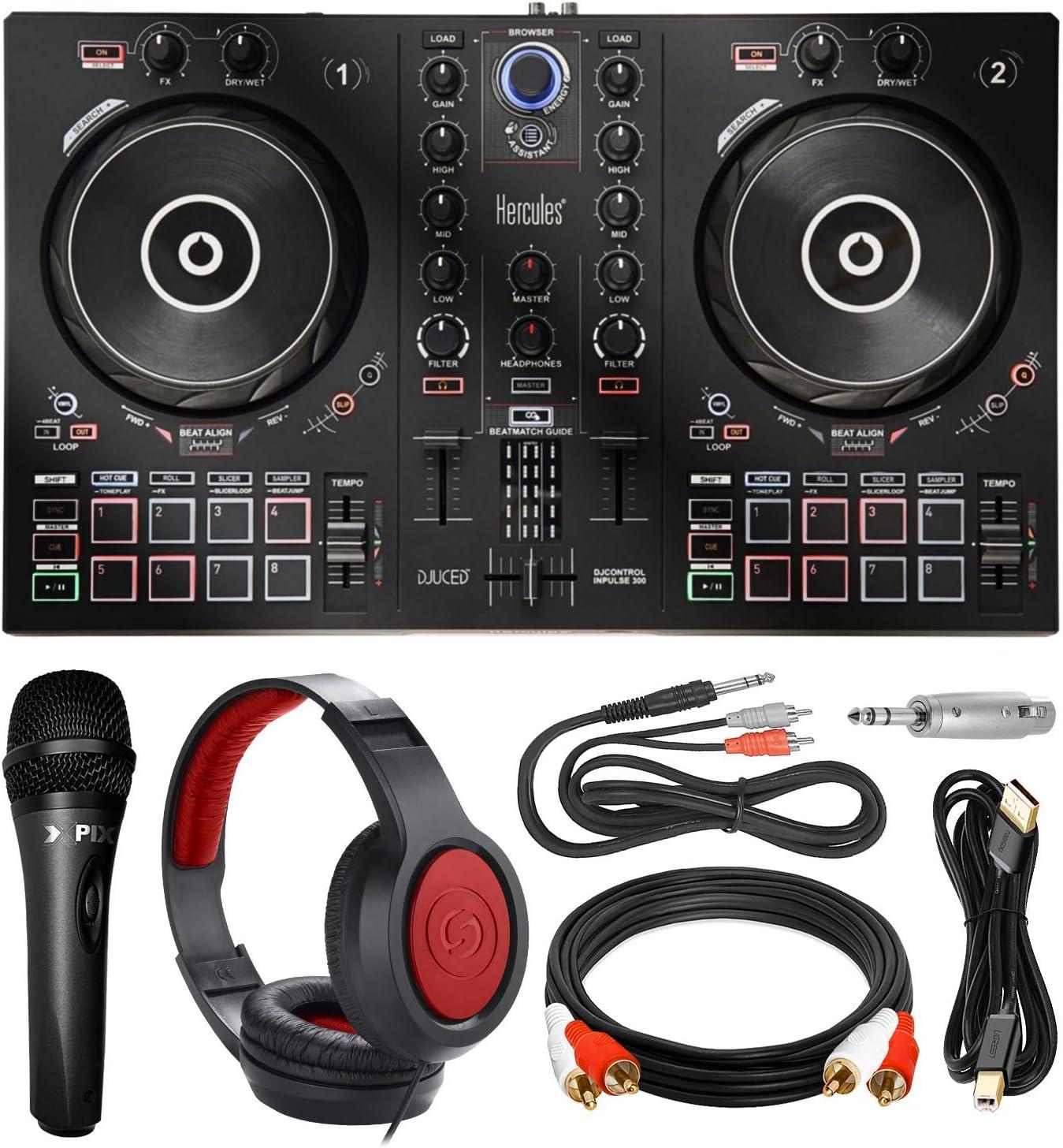 HERCULES DJCONTORL INPULSE300 컨트롤러+헤드폰+마이크+프리미엄 액세서리 번들