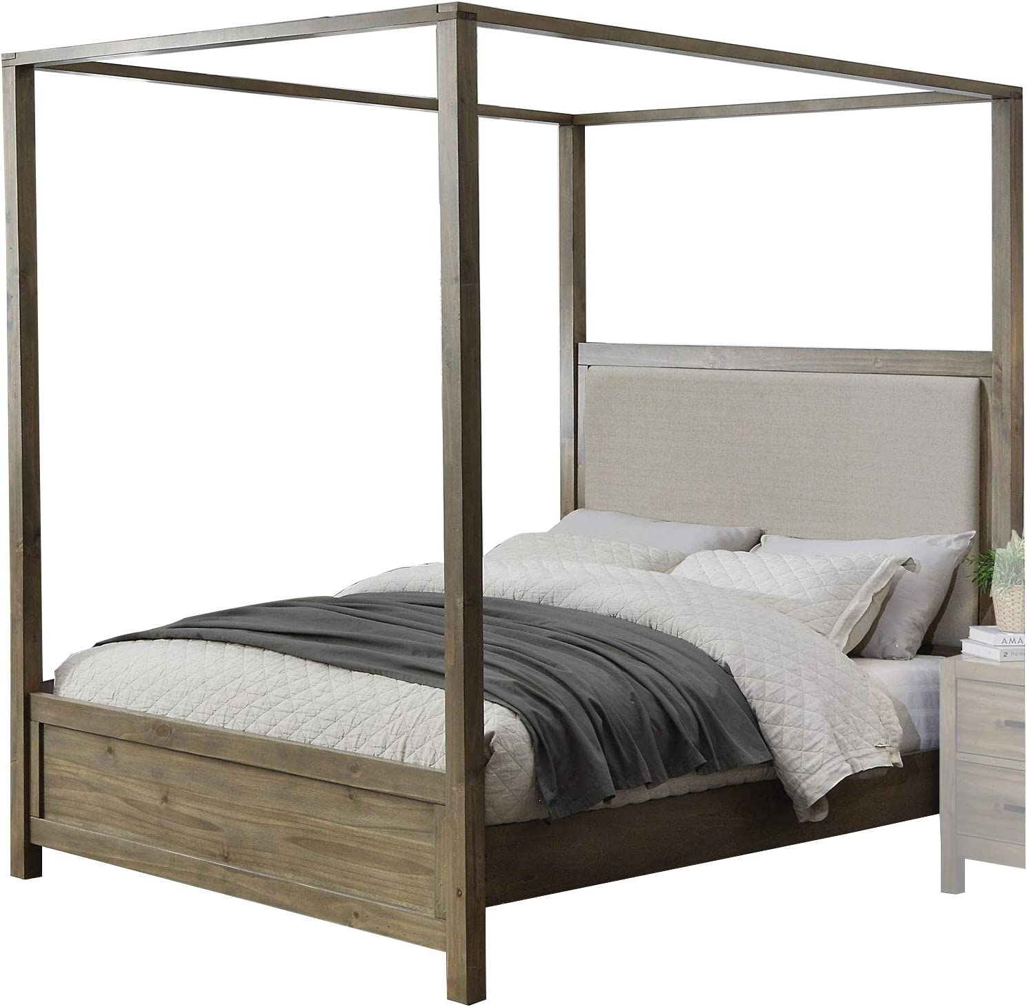 - Amazon.com - Benjara Contemporary Canopy Queen Bed With Padded