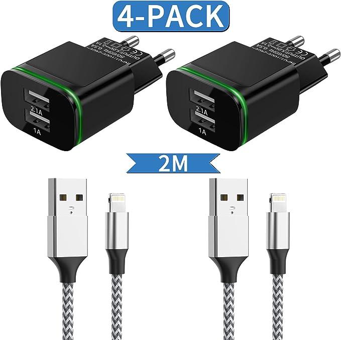 Niluoya Cargador Phone, 4-Pack 2.1A/5V 2M Cable y Dos Enchufe USB Movil de Pared Adaptador Compatible con iPhone 11 XS XS MAX XR X 8 7 6 6S Plus SE/5S/5C, iPad Air