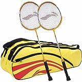 Li-Ning Smash XP 710 Strung Badminton Raquet (Set Of 2) + Li-Ning Double Belt 2-In-1 Thermal Racquet Bag, Yellow
